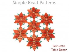 Beaded Christmas Poinsettia Table Decor Holiday Beading Pattern