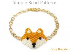 Brick Stitch Beaded Fox Chain Bracelet Jewelry Making Beading Pattern