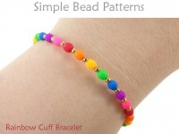 Easy Beginner Rainbow DIY Memory Wire Cuff Bracelet Beading Pattern
