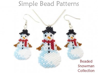 Beaded Snowman Earrings Necklace Christmas Ornament Peyote Tutorial