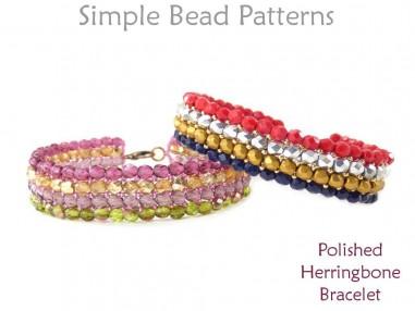 Herringbone Stitch Bracelet Beading Tutorial with Fire Polished Beads