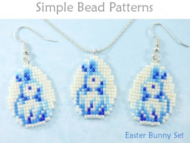 Beaded Easter Bunny Earrings Necklace Square Stitch Beading Pattern