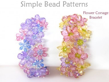 DIY Flower Corsage Bracelet with Beaded Flowers Using Peyote Stitch