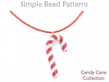 Hand beaded candy cane pendants