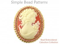 Bead Embroidered Cabochon Earrings, Necklace Cameo Brooch Pin Tutorial