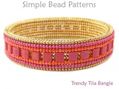 Beaded Bangle Bracelet with Tila Beads Herringbone Beading Pattern
