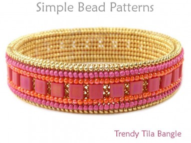 Beaded Bangle Bracelet with Tila Beads Herringbone Beading Pattern