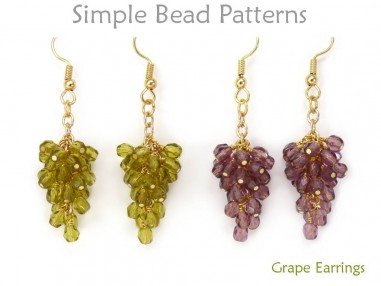 DIY Beaded Grape Earrings Easy Jewelry Making Beading Pattern