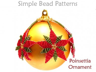Poinsettia DIY Christmas Ornaments to Make Beading Pattern