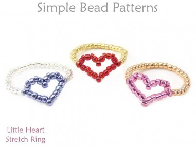 Sweet & Simple Beaded Little Heart Stretch Ring Easy Beading Tutorial