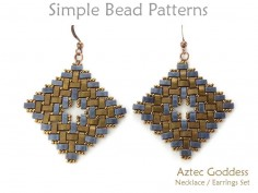 Half Tila Beaded Earrings and Necklace Set Jewelry Making Pattern