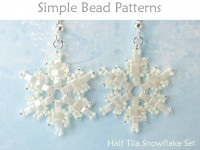 Beaded Snowflake Earrings and Necklace Half Tila Bead Pattern Tutorial