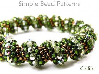 Cellini Spiral Tubular Peyote Stitch Bracelet Necklace Beading Pattern