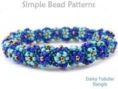 Daisy Flower Beaded Bangle Bracelet with Seed Beads DIY Jewelry Making