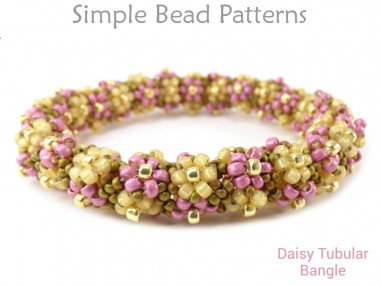 Daisy Flower Beaded Bangle Bracelet with Seed Beads DIY Jewelry Making