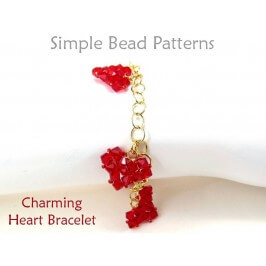 Beaded Crystal Heart Charm Bracelet Right Angle Weave Beading Pattern