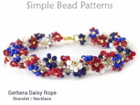 Daisy Flower Beaded Rope Bracelet and Necklace DIY Beading Pattern
