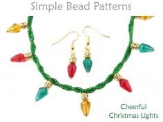 DIY Christmas Light Necklace Bracelet Earrings Holiday Beading Pattern