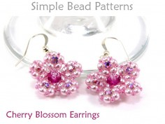 DIY Beaded Cherry Blossom Flower Earrings Jewelry Making Beading Pattern