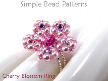 Beaded Cherry Blossom Flower Ring DIY Beading Tutorial