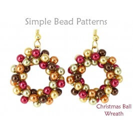 Beaded Christmas Wreath Necklace Earrings DIY Holiday Beading Pattern
