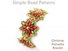 DIY Christmas Beading Pattern for SuperDuo Beaded Poinsettia Bracelet