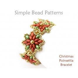 DIY Christmas Beading Pattern for SuperDuo Beaded Poinsettia Bracelet