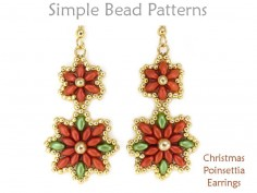 SuperDuo Christmas Poinsettia Flower Earrings Holiday Beading Pattern