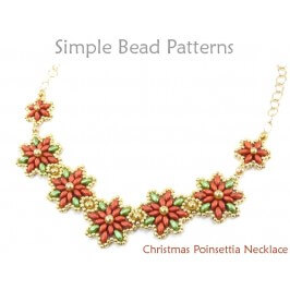 Beaded Christmas Poinsettia Flower Necklace SuperDuo Beading Tutorial