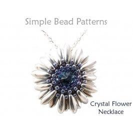 DIY Beaded Flower Swarovski Crystal Necklace Pattern