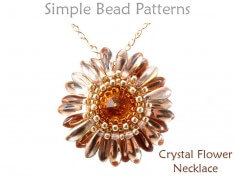 DIY Beaded Flower Swarovski Crystal Necklace Pattern