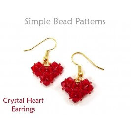 Beaded Crystal Heart Earrings Jewelry Making Tutorial by Simple Bead Patterns