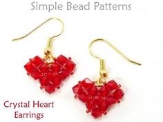 Beaded Crystal Heart Earrings Jewelry Making Tutorial by Simple Bead Patterns