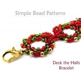 Beaded Christmas Wreath Bracelet Peyote Stitch DIY Beading Tutorial