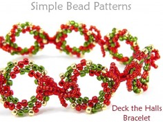 Beaded Christmas Wreath Bracelet Peyote Stitch DIY Beading Tutorial