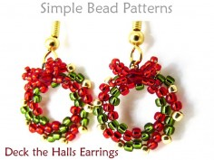 Beaded Christmas Wreath Earrings Peyote Stitch DIY Beading Tutorial