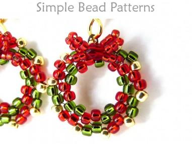 Beaded Christmas Wreath Earrings Peyote Stitch Diy Beading Tutorial