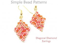 Diagonal Peyote Stitch DIY Beaded Earrings Jewelry Making Pattern