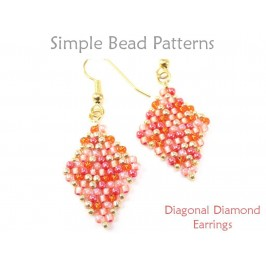 Diagonal Peyote Stitch DIY Beaded Earrings Jewelry Making Pattern