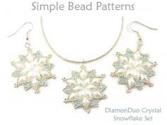 DiamonDuo Crystal Snowflake Earrings Necklace Jewelry Making Pattern