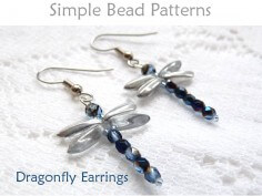 Dragonfly DIY Beaded Earrings Easy Beading Pattern for Beginners