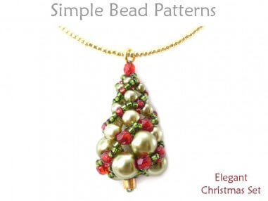 Beaded christmas tree earrings necklace russian spiral stitch tutorial aloadofball Image collections