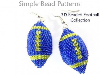 Beaded Football Earrings Necklace Keychain Ornament Beading Pattern