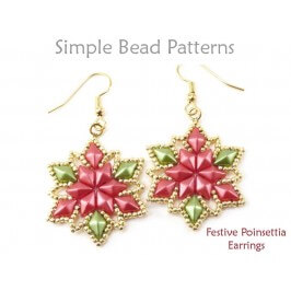 DIY Christmas Earrings Beaded Poinsettia Pattern with Diamond Duo Beads