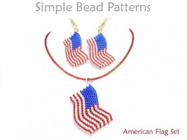 Beaded American Flag USA Earrings Necklace Peyote Stitch Pattern