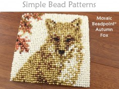 Easy Beaded Autumn Fox Coaster Home Decor Beginner Beading Pattern