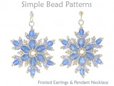 DIY Beaded Snowflake Earrings and Snowflake Necklace Beading Pattern