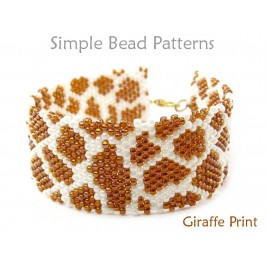 Brick Stitch Beading Pattern for a Giraffe Bracelet with Seed Beads