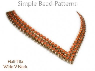Half Tila Wide V-Necklace Beading Pattern