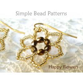 Easy Beading Pattern Beaded Flower Earrings & Beaded Flower Necklace